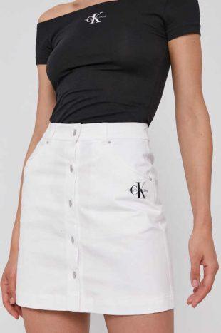 Spódnica jeansowa Calvin Klein o krótkiej długości z zapięciem z przodu