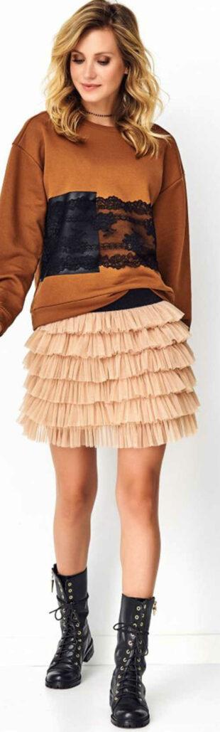 Beżowa tiulowa spódnica damska TUTU