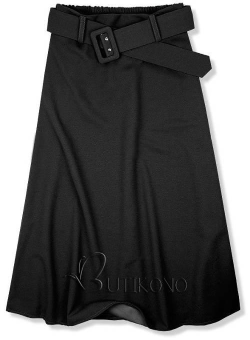 Czarna spódnica midi z paskiem