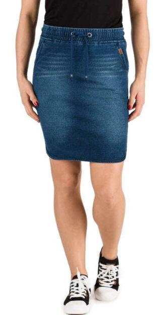 Damska jeansowa mini spódniczka o prostym kroju