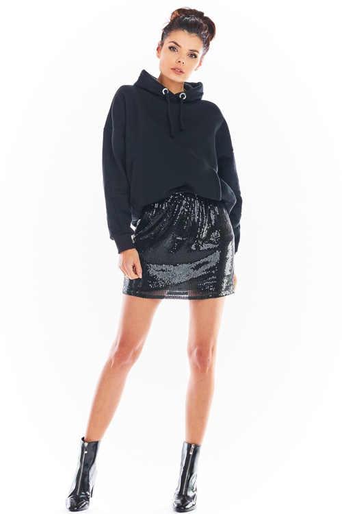 Damska mini spódniczka czarna z cekinami