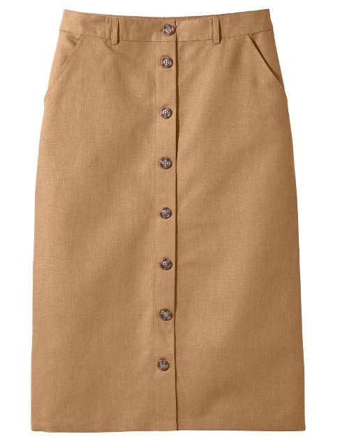 Damska prosta spódnica z plisą guzikową z przodu