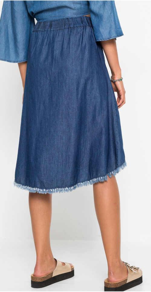Damska spódnica jeansowa z postrzępionym dołem