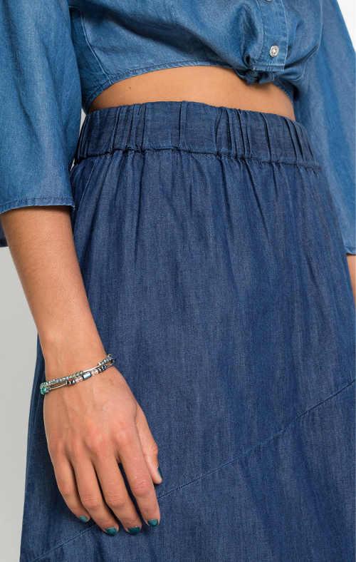 Damska spódnica jeansowa z wygodną wysoką elastyczną talią