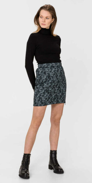 Damska zimowa krótka pikowana spódnica z dwukierunkowym zamkiem błyskawicznym