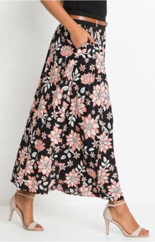 Długa kwiatowa spódnica z paskiem