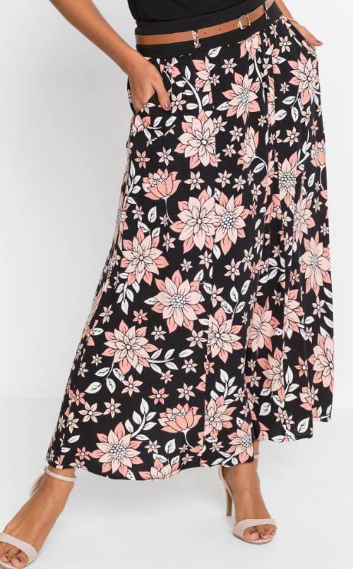 Długa spódnica w kwiaty z kieszeniami