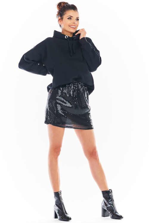 Nowoczesna krótka spódniczka z cekinami