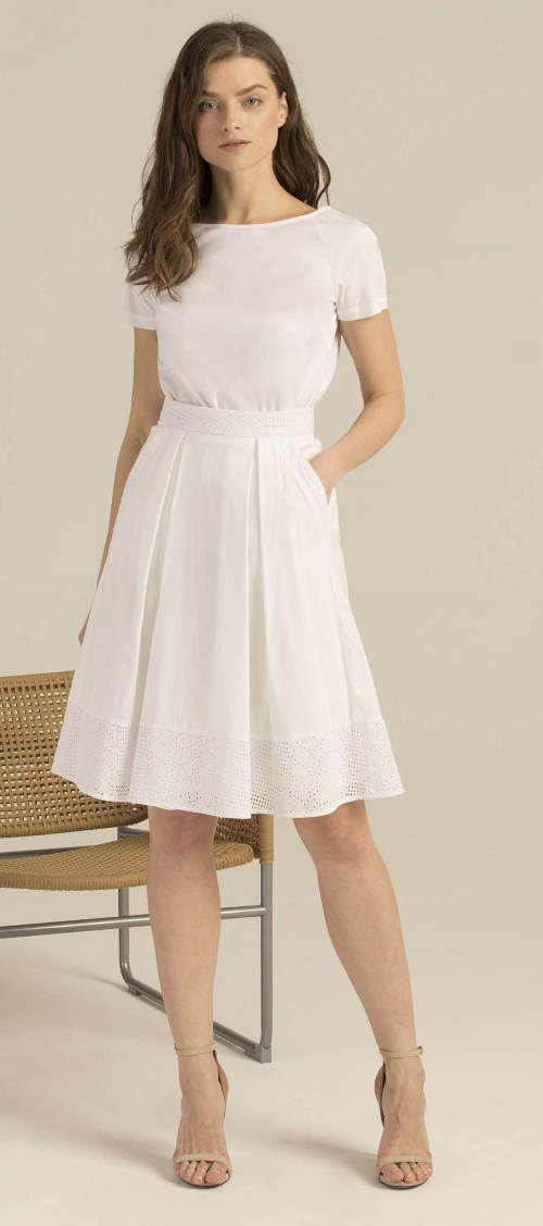 Romantyczna biała spódnica o linii A Pietro Filipi