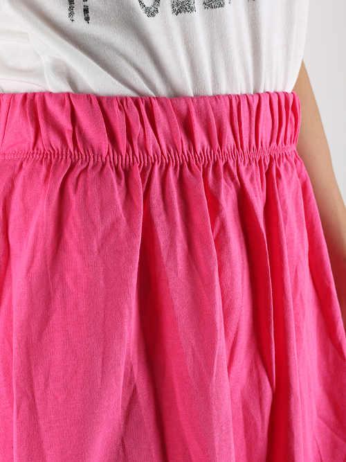 Różowa spódnica damska z efektem marszczenia