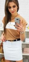 Solidna biała spódnica jeansowa dla kobiet o krótkiej długości