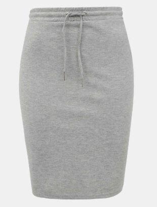 Szara dzianinowa spódnica z rękawami i sznurkiem w talii