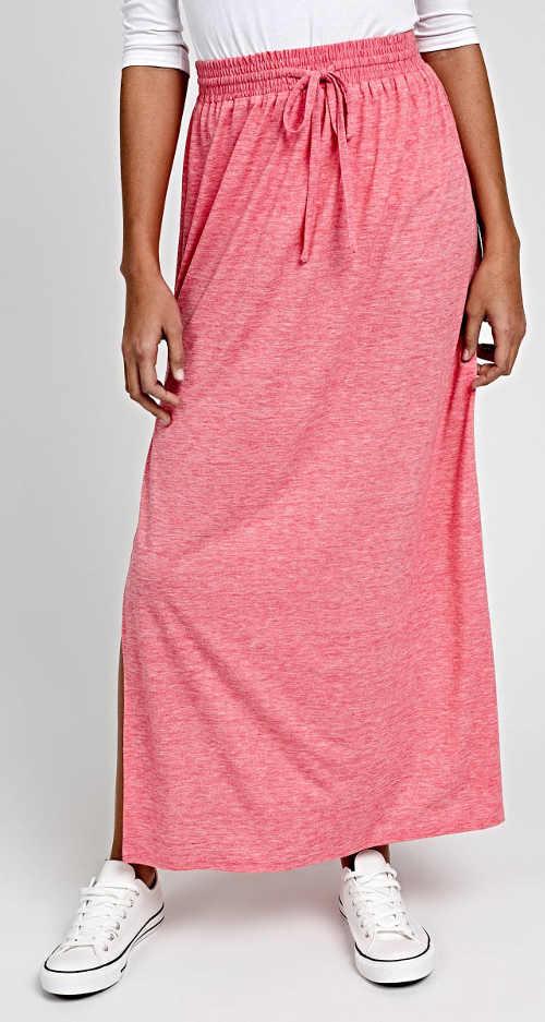 Tania długa różowa spódnica maxi z rozcięciami