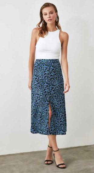 Wygodna spódnica o długości midi w nowoczesny kwiatowy wzór