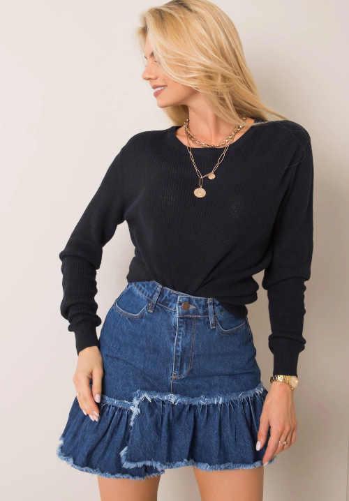 Krótka spódnica jeansowa z kanarkiem i zapięciem na zamek z przodu