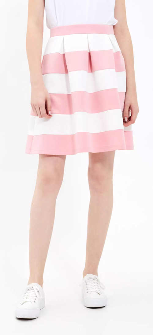 Letnia różowo-biała spódnica w paski z gumką