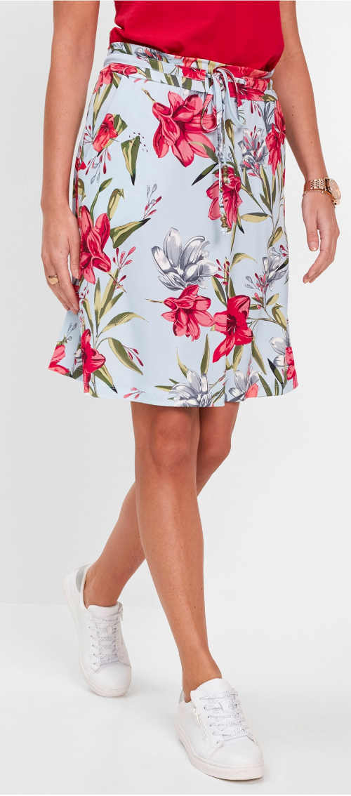 Letnia spódnica w kwiaty z paskiem ściągającym w talii
