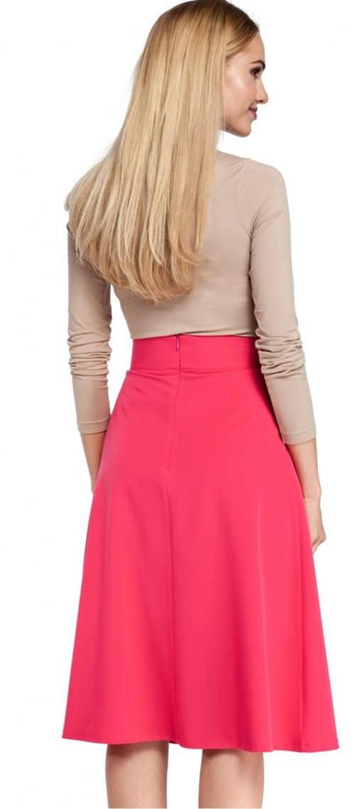 Różowa wiosenna spódnica midi