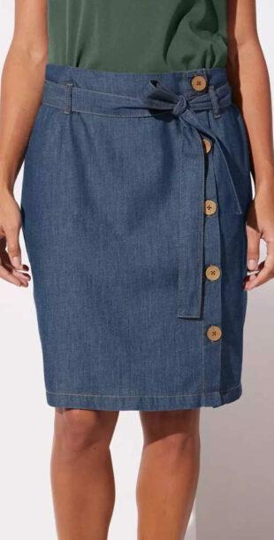 Spódnica jeansowa z guzikami i wiązanym paskiem