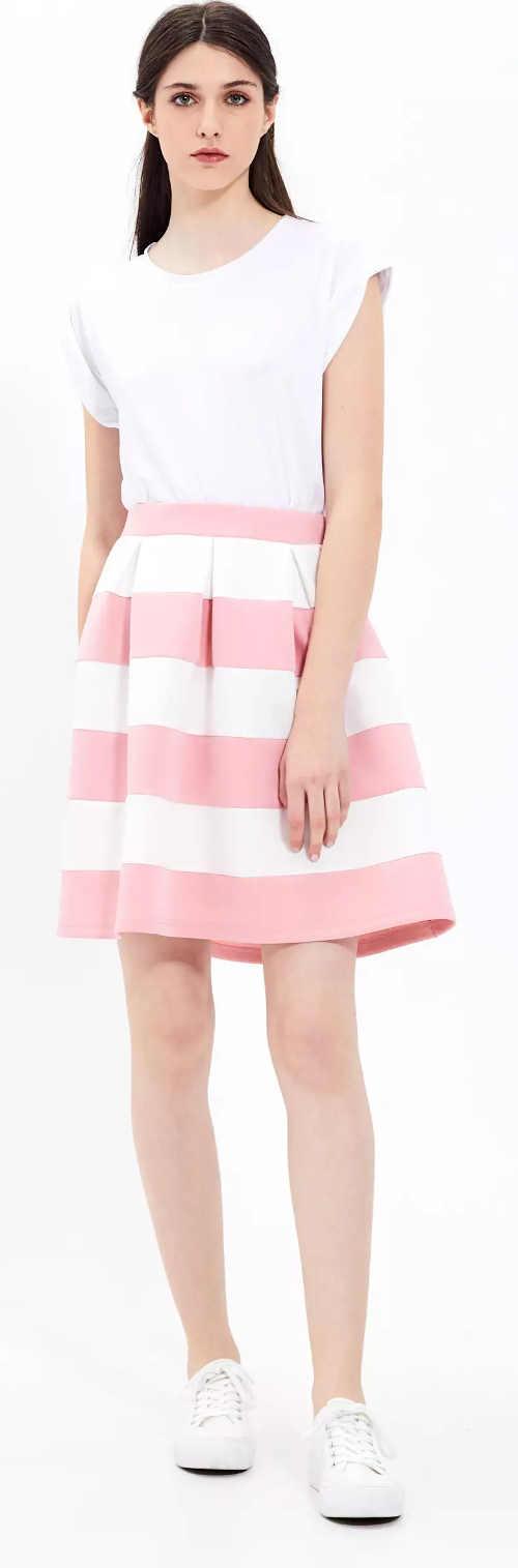 Spódnica sportowa o linii A w różowo-białe paski