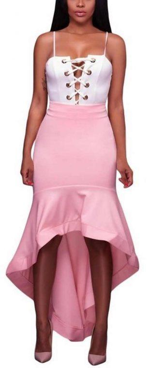 Damska asymetryczna różowa spódnica wizytowa