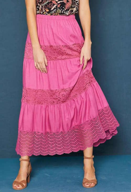 Damska długa spódnica z makramą i koronkową wstawką