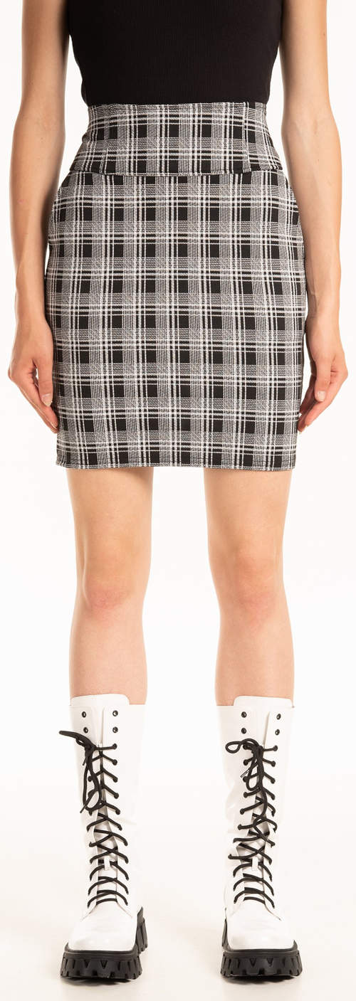 Damska krótka spódnica w kratę z wysoką talią