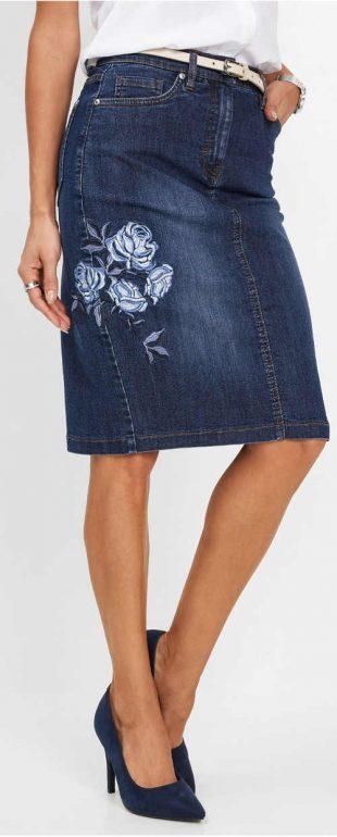 Damska spódnica jeansowa do kolan z kwiatowym haftem