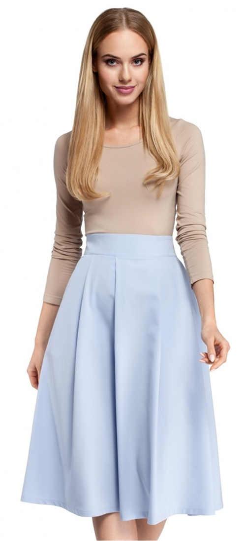 Formalna spódnica midi w kolorze jasnoniebieskim
