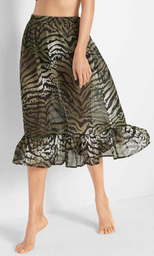 Oliwkowa spódnica plażowa z wzorem zebry