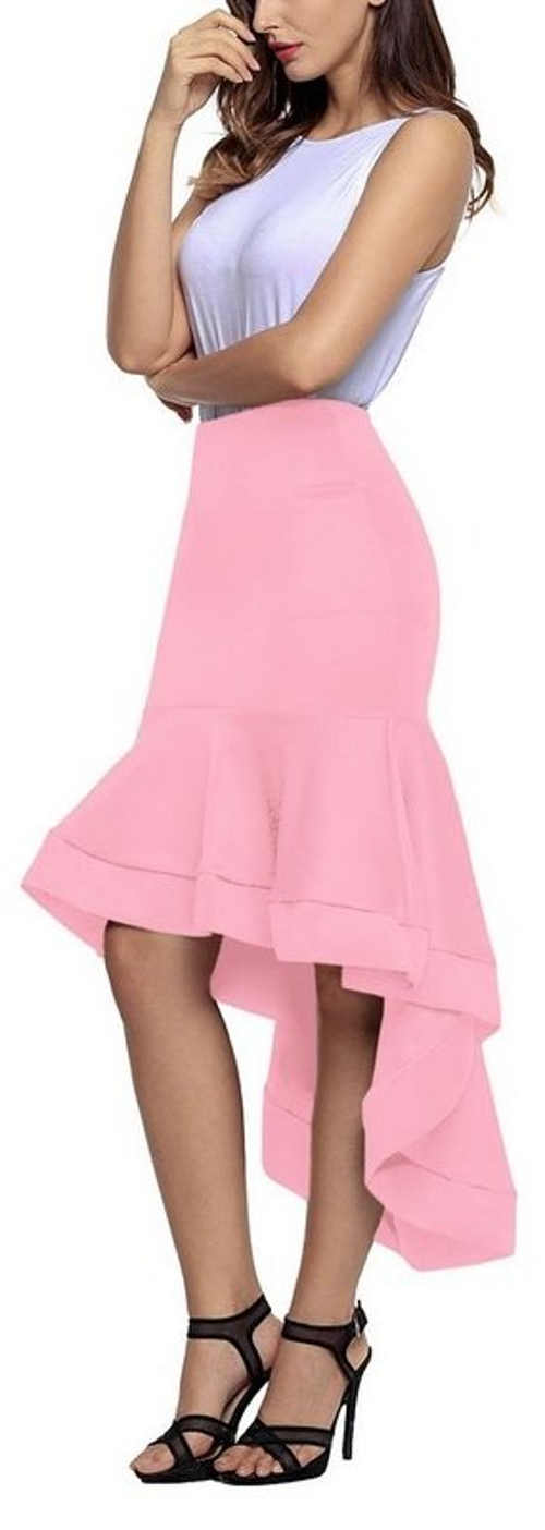 Różowa spódnica damska z długą falbaną z tyłu