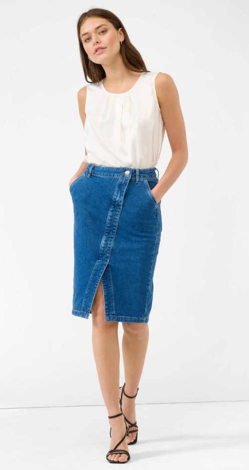 Spódnica jeansowa o długości midi z rozcięciem z przodu