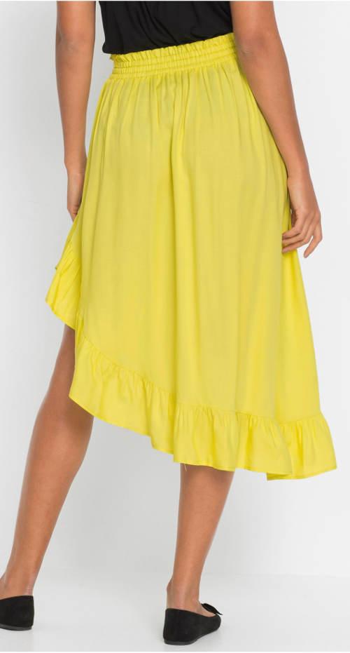 Żółta spódnica damska z falbanką