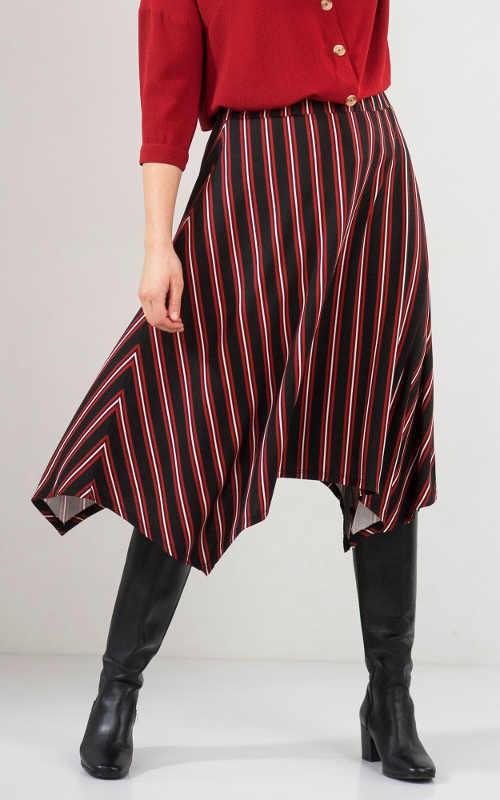 Asymetryczna spódnica w paski dla kobiet