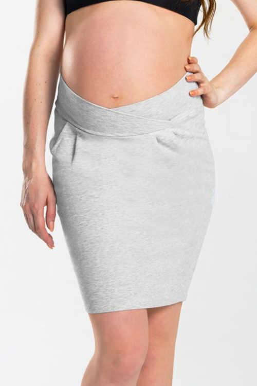 Bawełniana spódnica ciążowa z elastycznym paskiem w talii skrzyżowanym z przodu