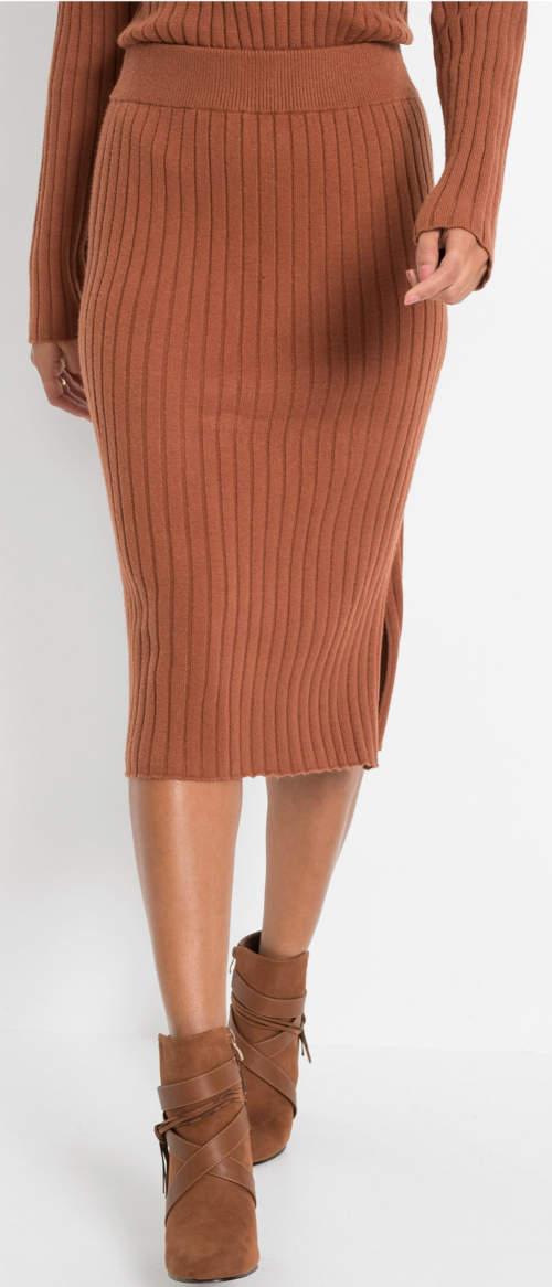Bordowa spódnica midi z prążkowanej dzianiny