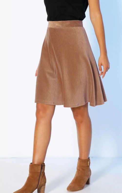 Krótka sztruksowa spódnica w kolorze brązowym lub bordowym