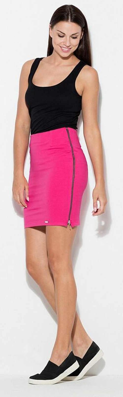 Różowa spódnica damska z długimi zamkami po bokach