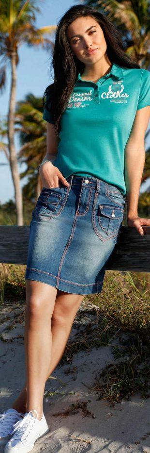 Spódnica damska z dżinsu stretch bonprix z charakterystycznymi kieszeniami