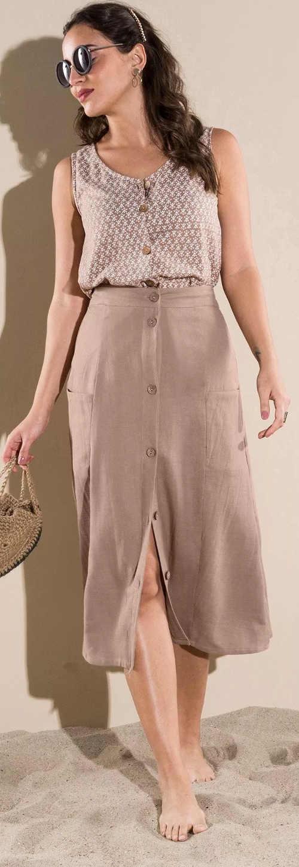 Spódnica midi w jednolitym kolorze z guzikami z przodu