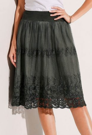 Szara haftowana spódnica z siatki