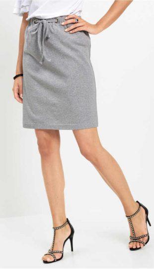 Tania szara spódnica z paskiem ściągającym w talii