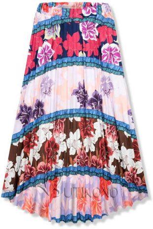 Uniwersalna długa letnia spódnica w kwiatowy wzór